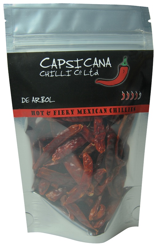 "De Arbol chillies are related to cayenne peppers though a little milder in heat. Their name means ""tree like"" and refers to the woody stems of the plants. They are a common sight in many Mexican pantries and are featured in all good Mexican cookbooks. Our de Arbol are grown and dried in the hot Mexican sun.    Use in sauces, chunky salsas. Dry roast and grind with other Mexican chillies for delicious homemade chilli powders."