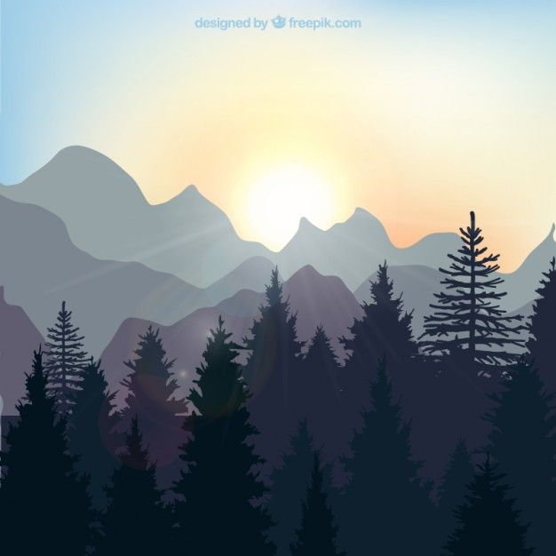 Sunrise landscape in the forest Free Vector