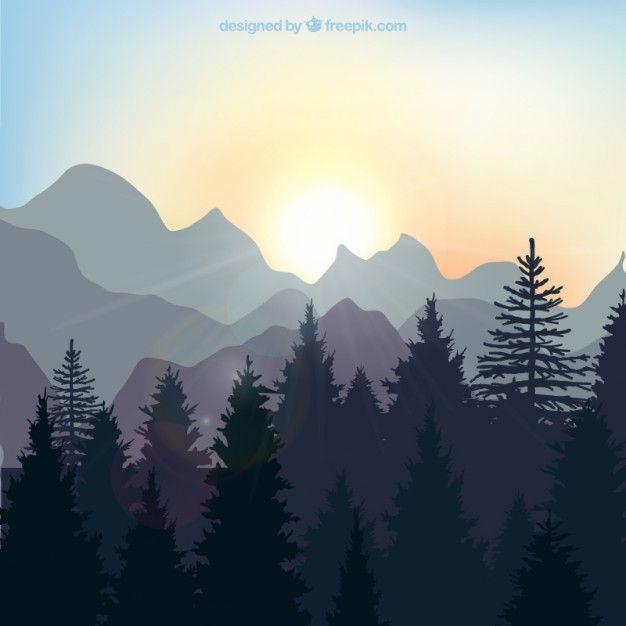 朝日に染まる森のイラストアイデア