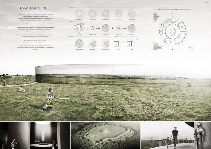 Projects presented to the Camelot Research  Visitors Center International Architecture Competition for Students Organized by ARCHmedium