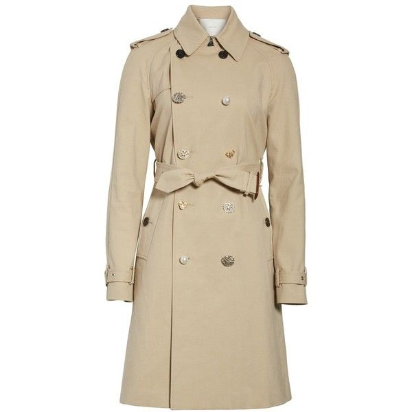 Women's Adam Lippes Embellished Button Trench Coat ($1,750) ❤ liked on Polyvore featuring outerwear, coats, trench coats, button trench coat, adam, brown trench coat and button coat