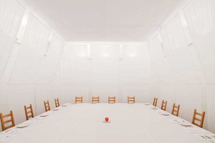 """I.Kabakov Installation """"20 ways to get an apple listening to the music of Mozart"""" / GARAGE MUSEUM OF CONTEMPORARY ART PRESENTS Grammar of Freedom / Five Lessons: Works from the Arteast 2000+ Collection"""