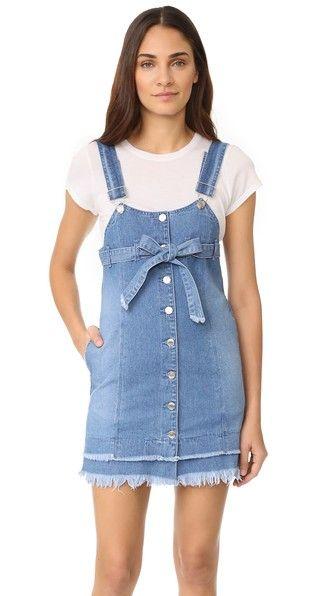 Denim Blue SJYP Button Front Strap Denim Dress