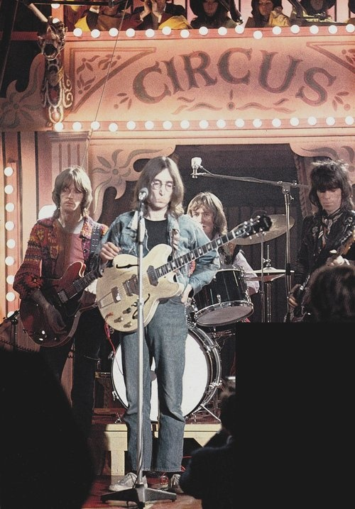 One time supergroup: The Dirty Mac feat. John Lennon, Keith Richards, Eric Clapton, and Mitch Mitchell. The Rolling Stones Rock and Roll Circus, 1968