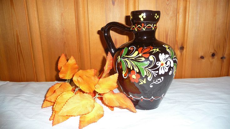 Vintage Black Norwegian Ceramic Rosemaling Pitcher, Norway Pottery Hand Painted Jug, Viking Decanter, Scandinavian Design Folk Art by Grandchildattic on Etsy