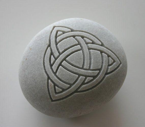 Trinity Knot Engraved White Stone Celtic Love Knot Symbol