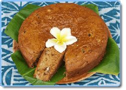 Breadfruit Cake: 1 very ripe breadfruit, 3 eggs, 1C oat flour, 1/4C truvia, 3C coconut milk, a pinch of salt. Peel the breadfruit, discard the heart and finely grind the flesh. Whisk the eggs with the sugar, and then blend with the flour, mashed breadfruit, coco milk and the salt. Pour into a buttered mold and cook in the oven at 150o. for 60 minutes. Serve cold, cut in thick slices.