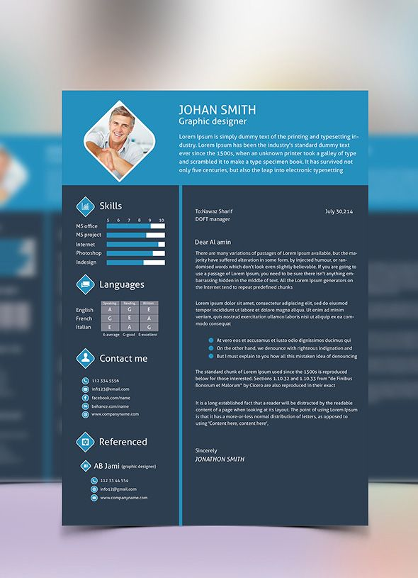 Free 3 Color Flat Resume Template u0026