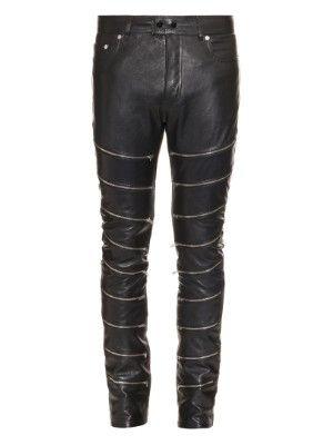 Multi-zip leather trousers | Saint Laurent | MATCHESFASHION.COM US
