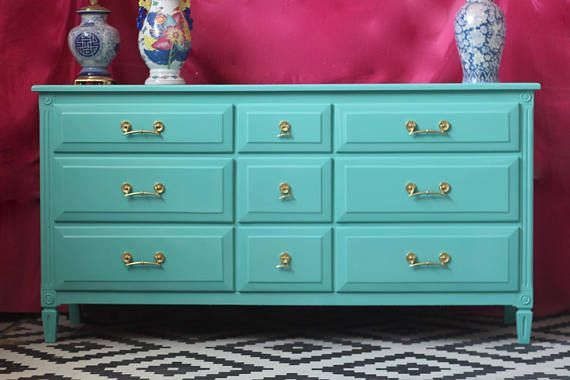 Traditional Dresser Lacquered in Beautiful Tiffany Blue