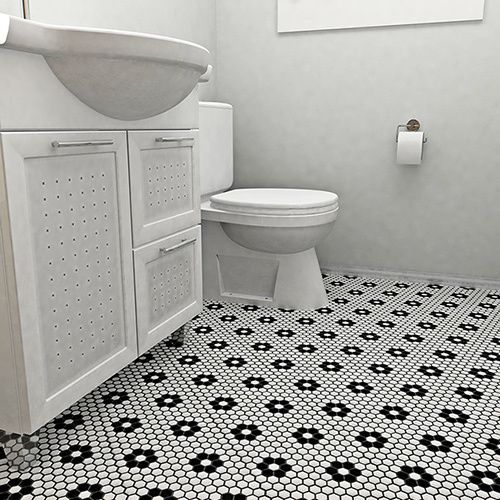 Add A Vintage Touch To Your Bathroom Decor With This SomerTile Victorian  Hex Porcelain Tile Pack, Which Features A Flower Design With A Glazed  Finish.