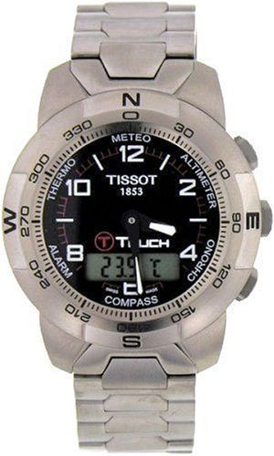 Tissot Men's T33778851 T-Touch Titanium Watch Tissot. $626.66. Touch-screen technology with 8 separate functions:  Altimeter, Chrono, Compass, Alarm, Thermometer, Barometer (Meteo), and Date and Time. Water-resistant to 99 feet (30 M). Easy to use - Activate by pressing on the crown and the touch-screen. Precise Swiss-Quartz movement. Case Diameter - 41.5 mm; Crystal - Tactile Scratch-Resistant Sapphire. Save 34%!