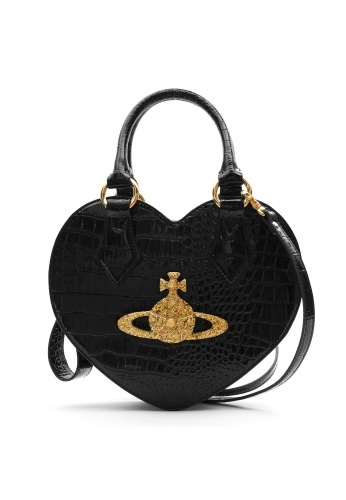 """""""Chancery"""" black heart bag with gold orb from Vivienne Westwood."""