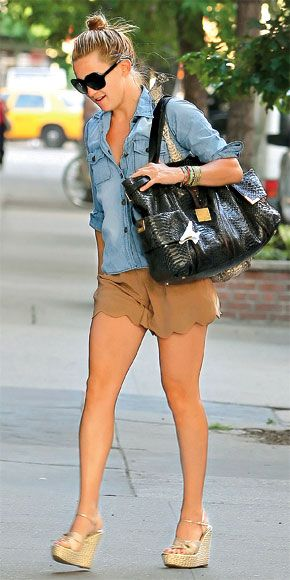 wedges, nude shorts, and a great denim shirt. Legs are looking great
