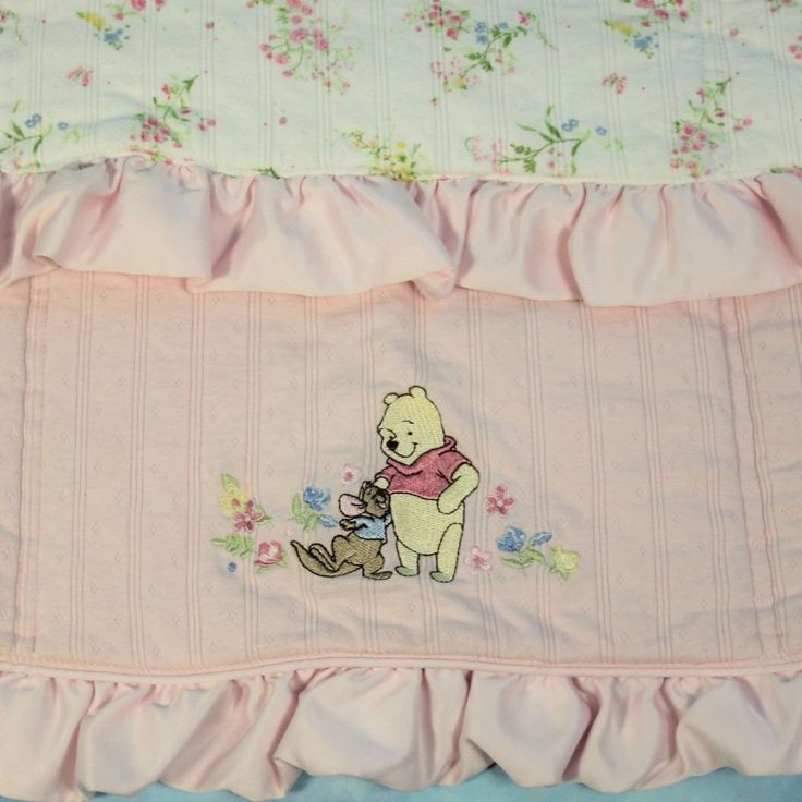 Disney Winnie the Pooh Roo Baby Blanket Pink Satin Ruffle Stroller Quilt 28x30 #WaltDisneyCollections