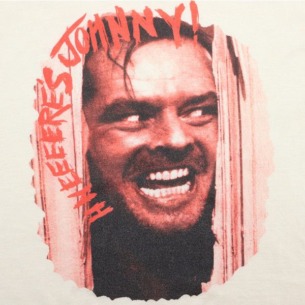 The Shining Shirt Vintage tshirt 1980 Here's Johnny Movie Tee 1980s... ($403) ❤ liked on Polyvore featuring tops, t-shirts, polish t shirts, 80s tees, vintage shirts, 80s shirts and red collar shirt