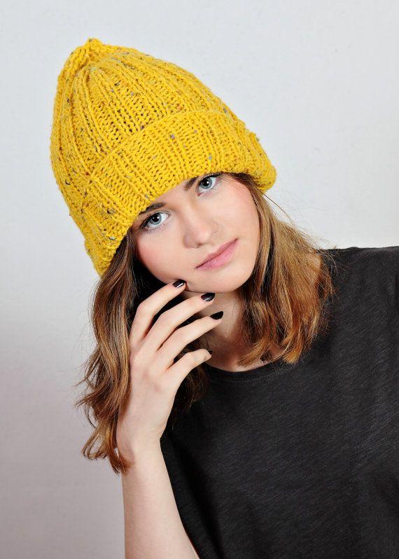 yellow hat, yellow beanie, yellow knit hat, yellow beanie hat,tweed beanie hat,knit hat wool,Ready to ship