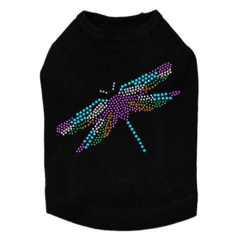 Dog-Tank-Small-Sparkling-Colorful-Nail-Heads-Dragon-Fly-LARGE-FREE-PAW-PIN