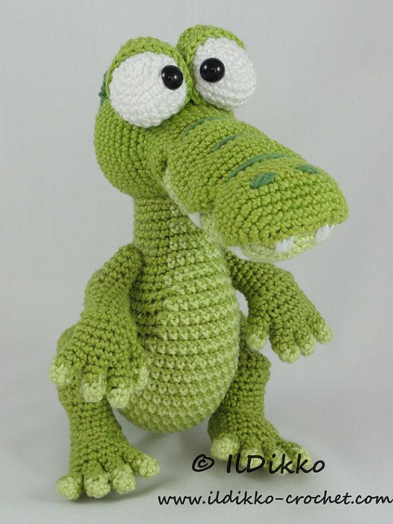 Amigurumi Crochet Pattern - Conrad the Crocodile !!!This listing is for a crochet pattern and not a finished item!!! Conrad the Crocodile: The pattern is very detailed and contains a lot of pictures. This is an instant digital download PDF pattern (ready to download immediately after the payment). More photos available on Facebook: https://www.facebook.com/IlDikko Or check out IlDikko website: http://ildikko-crochet.com Finished size: Using the given yarn and hoo...