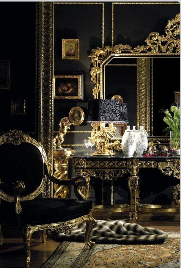 Black and gold room color black gold pinterest for Black gold bedroom designs