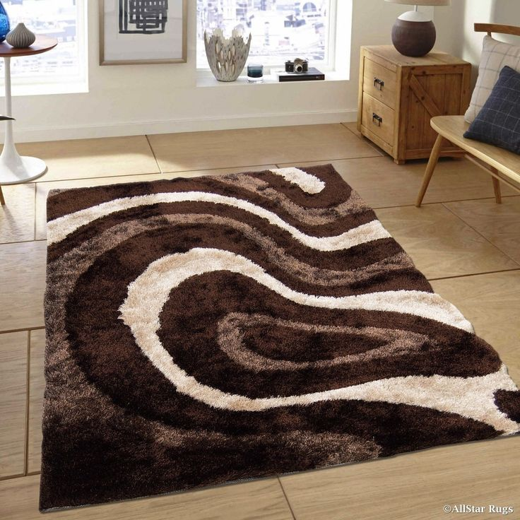 "Allstar Chocolate/ Beige Thick High Density High Pile Rug (7' 11"" X 10' 5""), Brown, Size 8' x 11' (Polyester, Abstract)"
