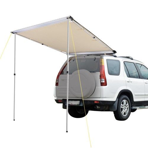 A Yescom 4 6x6 6ft Car Side Awning Retractable Rooftop Tent Sun Shade Suv Camping Travel Sand Brown Tent Awning Car Awnings Car Tent