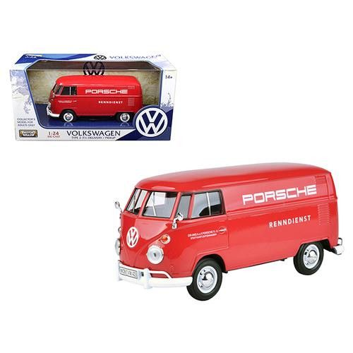 Volkswagen Type 2 (T1) Delivery Truck Red Porsche Service 1/24 Diecast Model Car by Motormax