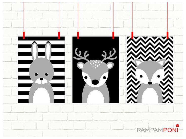 Trzy leśne zwierzątka - zestaw plakatów A4 - RAMPAMPONI - Dekoracje ścienne
