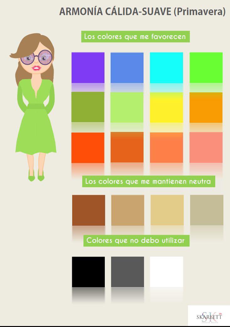 Armonía Cálida-Suave (Primavera): piel cetrina (toma color rápidamente con el sol), pelo castaño claro, cobrizo anaranjado o rubio (tono miel), y ojos marrones o verde claro.