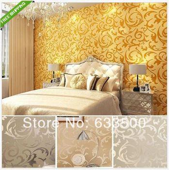 2014 caliente de la venta del vinilo pintado del diseño moderno de alta calidad de la astilla / oro del damasco papeles de la pared del papel pintado de lujo
