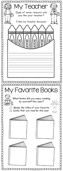 End of Year Memory Book and Activities K-1 Unit - 65 pages$