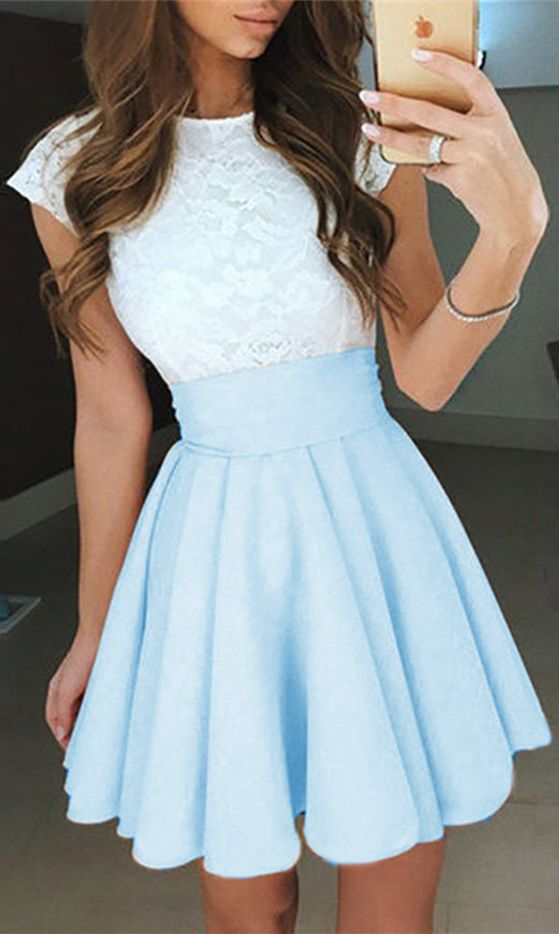 light blue homecoming dresses,lace homecoming dresses,short homecoming dresses,summer dresses @simpledress2480