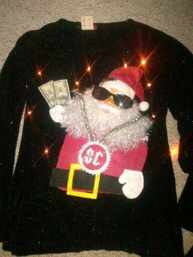 Diy Ugly christmas sweater Big bucks Santa with working lights