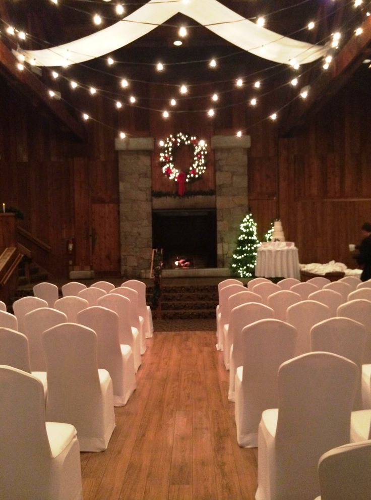 The decorations are set, the seating is ready for a holiday wedding in Eight Mile Brook, one of the wedding and reception venues at the Heritage Resort and Conference Center.