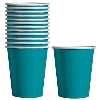 Hot/cold paper beverage cups are perfect for serving punch, juice, coffee, and more! Pair with napkins and plates for a coordinated theme — teal is perfect for any occasion such as graduations,