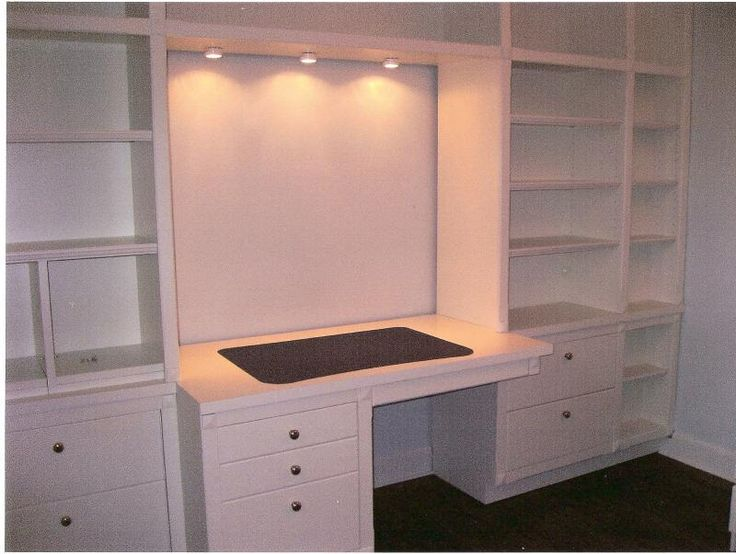 for a dream sewing room .... built in bookshelves with desk. Only thing I'd add would be doors to cover the clutter!