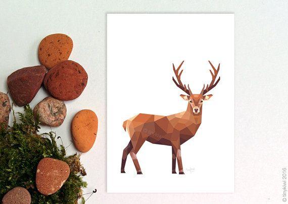 Stag wall art Deer illustration Geometric deer by tinykiwiPrints