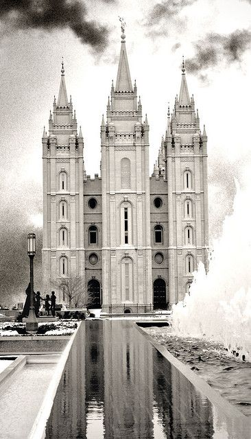 Salt Lake LDS/Mormon Temple. I love the black and white with the unconventional setting of this shot. It feels like a railroad or tracks need to be in it, as odd as that sounds.