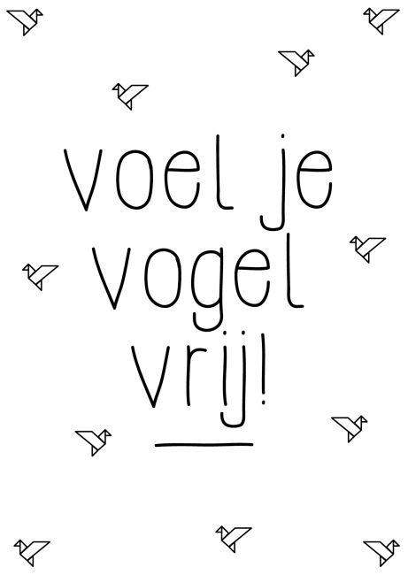Voel je vogel vrij! Kaartje byBean. Hier verkrijgbaar: http://www.bybean.nl/9995972/kaartje-voel-je-vogelvrij