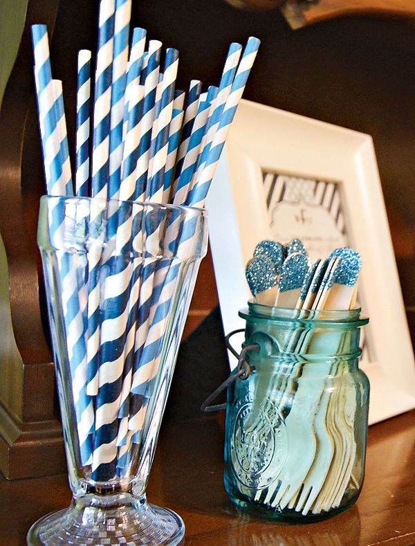 {Monogram & Elephant} Preppy Baby Dedication Party in navy and aqua: glitter-tipped wooden forks