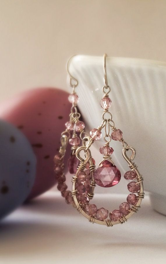 Faceted Pink Mystic Quartz Interior Wire Wrapped Sterling Silver Chandelier Earrings by Belle Bijou Atelier