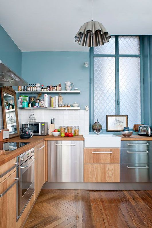 paris penthouse small kitchen with wood and stainless steel / sfgirlbybay