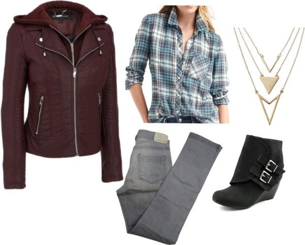 The Perfect Moto Jacket Outfit for Fall - gray jeans - teal plaid shirt - burgundy moto jacket - black wedge ankle boots