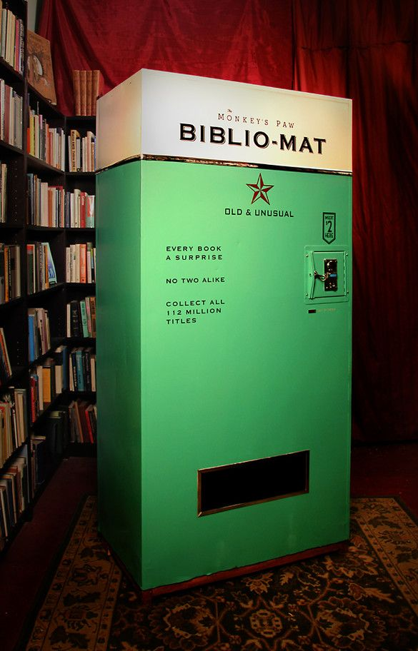 In a Toronto bookstore...The Biblio-Mat combines the charm of a gumball machine with the surprise element of a raffle. The machine jumps to life once money's inserted. With a bit of overt drama—cranking and whirring and ringing that invoke old machinery—the dispenser then releases a used title from its stock, dropping it into a slot for a happy reader to walk away with.