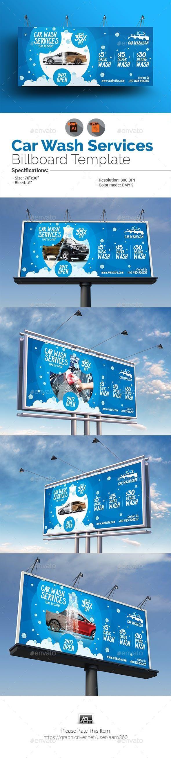 Car Wash Billboard #marketing #SignageTemplates #designresource #PrintDesign #gr...