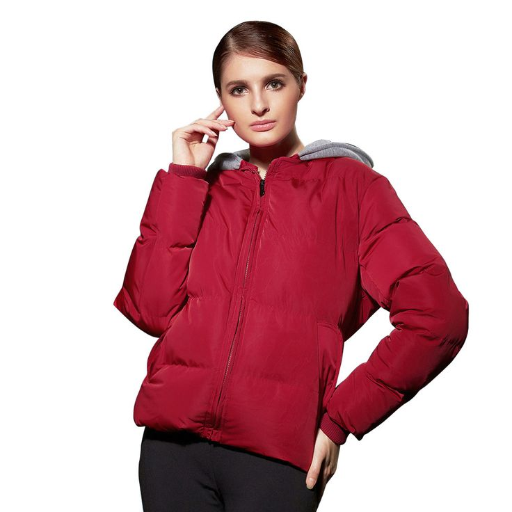 NXH Women Coats and Jackets  Female Red Winter Jacket Windproof Solid Warm Ladies Parkas Jacket Hooded Short Down jackets