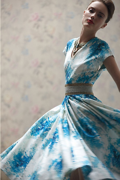 Swoosh: Fashion, Anthropology, Anabelle Dress, Style, Flared Anabelle, Blue, Clothes, Dresses