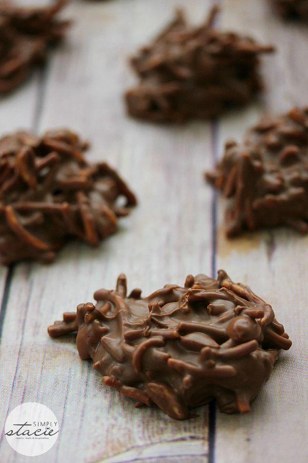 No bake Chocolate peanut butter haystack