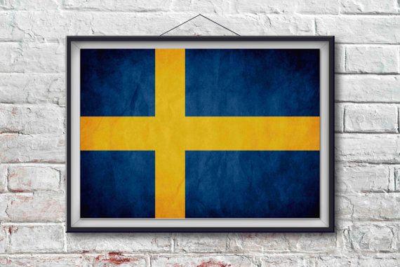 Sweden Flag Print, Sweden Poster,  Sweden Flag Art, Sweden Art Print, Wall Art, Wall Decor, World Poster,  Home Decor [PXCF023-P]