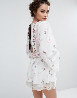 Endless Rose Floral Printed Top with Open Back in white at Asos